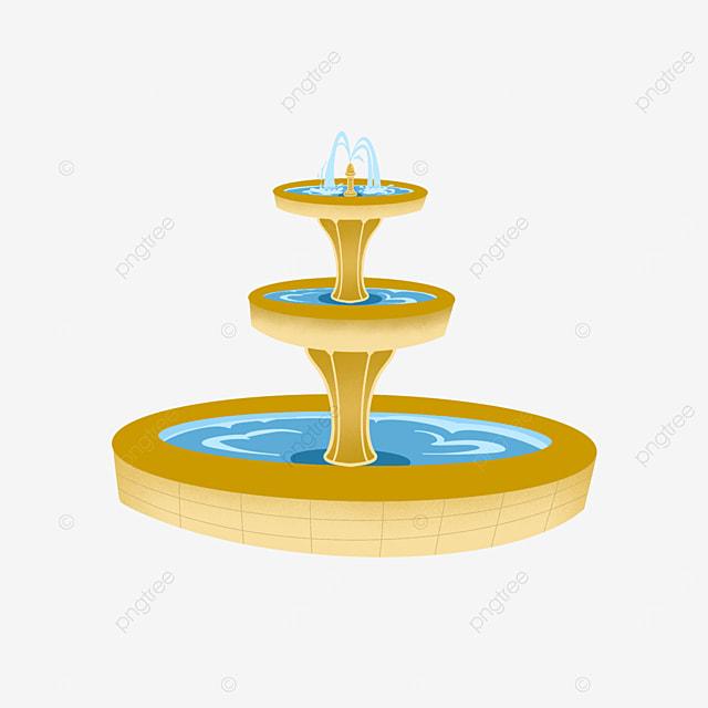 fountain clipart golden pillar three dimensional craft