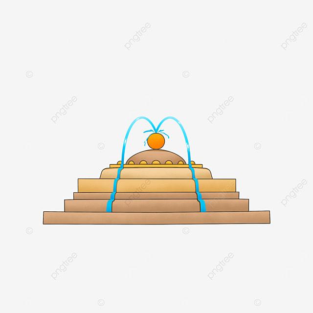 fountain clipart water flow building sphere golden
