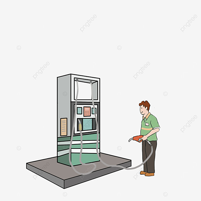 green cartoon style gas station clipart