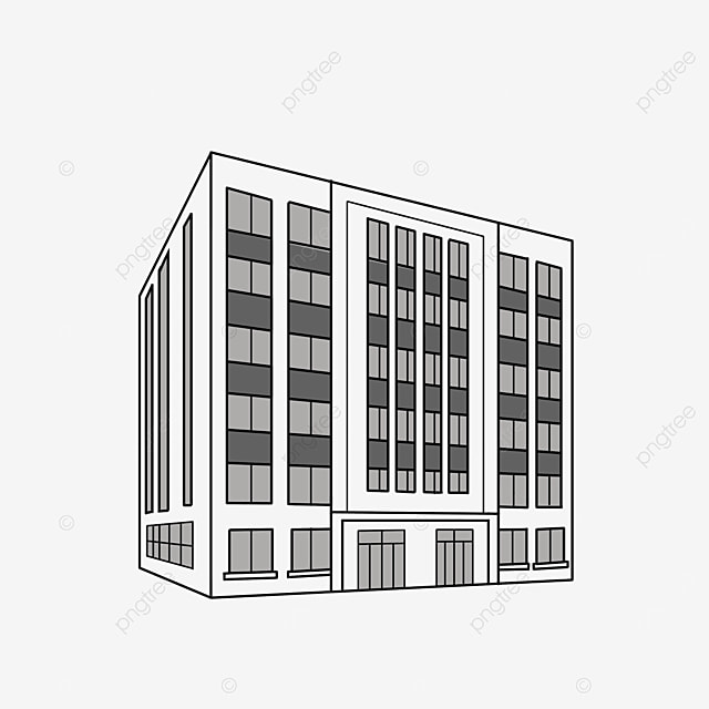 hand drawn black and white office building clipart