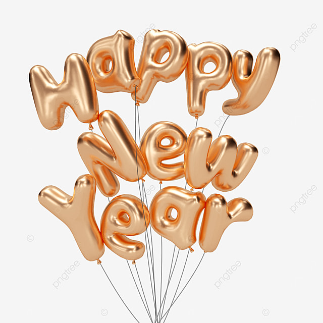 happy new year golden balloon words