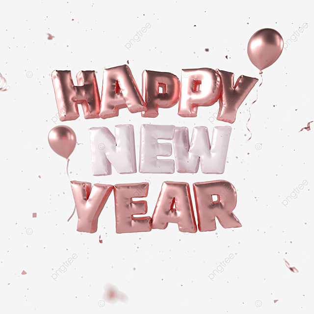 happy new year rose gold font