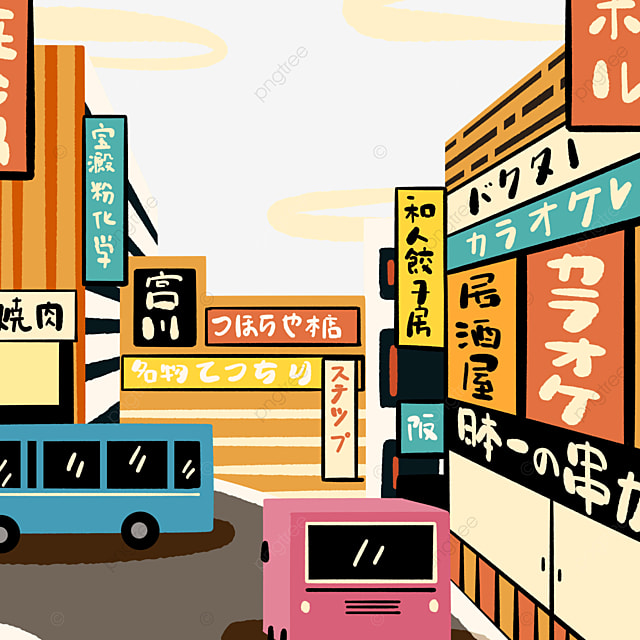 japanese cartoon style modern street view store