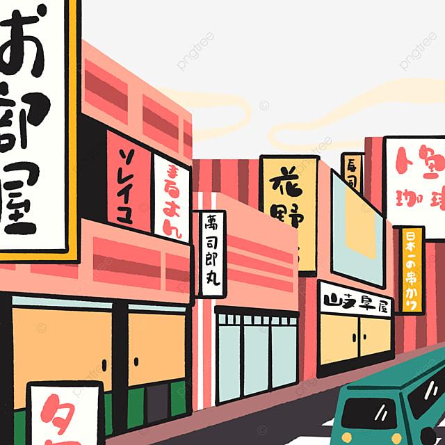japanese cartoon style modern streetscape architecture