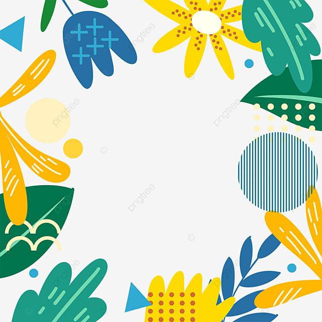 memphis style creative leaf border