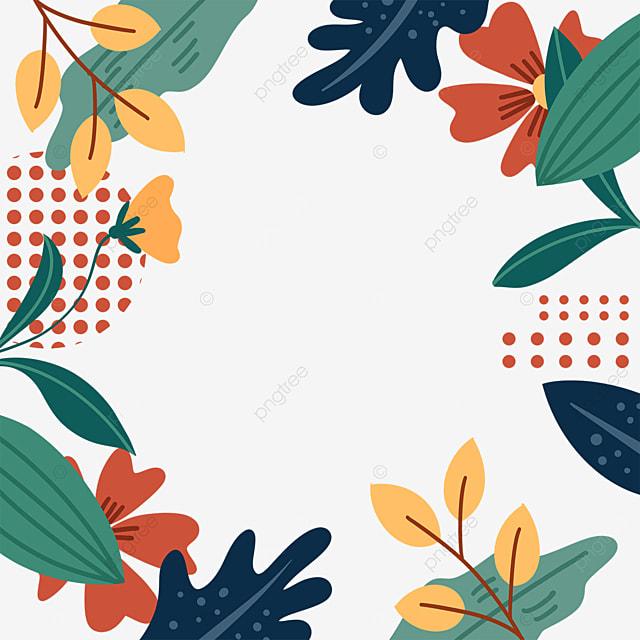 memphis style leaves doodle border