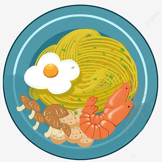 mushroom meat prawn egg ramen clip art