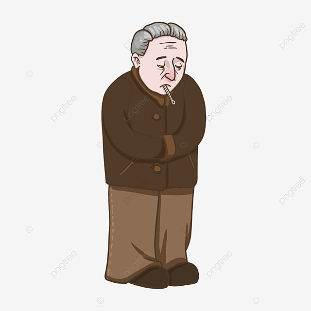 old man with flu clipart taking body temperature