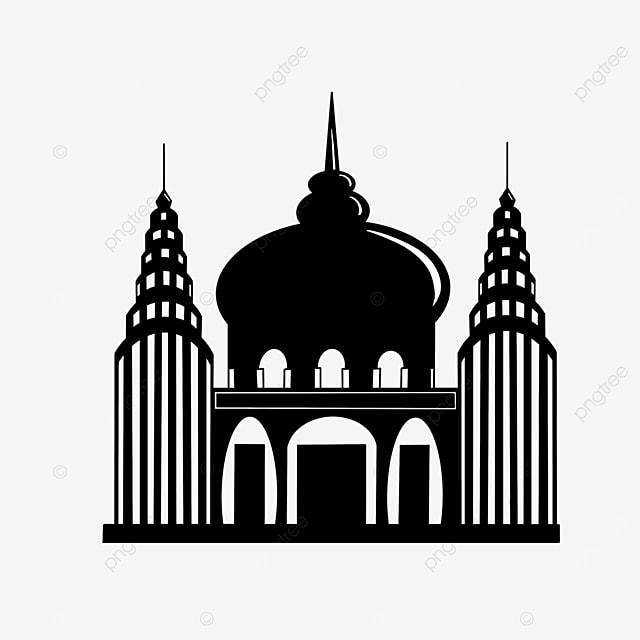 openwork black and white castle building clipart silhouette