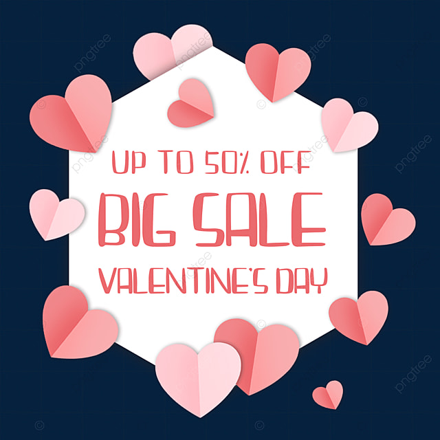 paper cut love heart valentines day promotion border discount