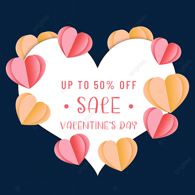 paper cut love heart valentines day promotion border happy