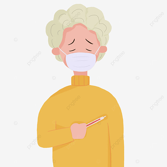 patient flu wearing a mask measuring body temperature clipart