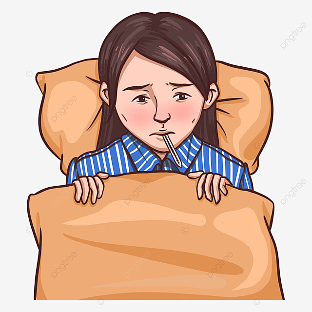 patient with flu clipart taking body temperature