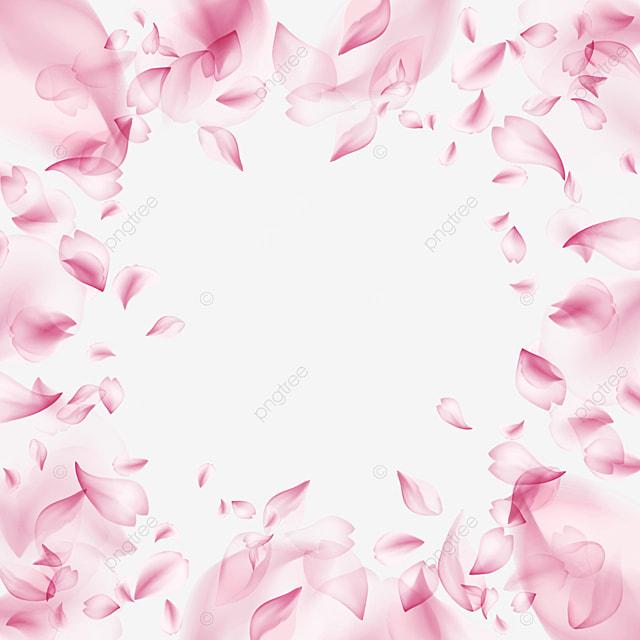 petals falling round light effect cherry blossom border