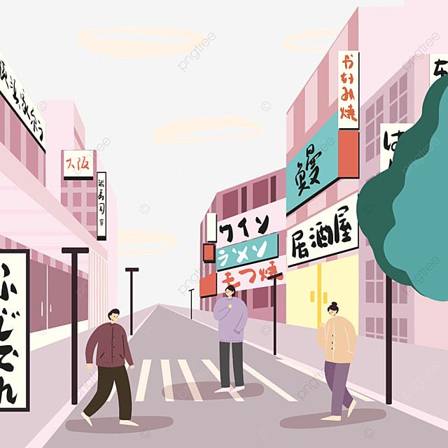 pink modern japanese street buildings