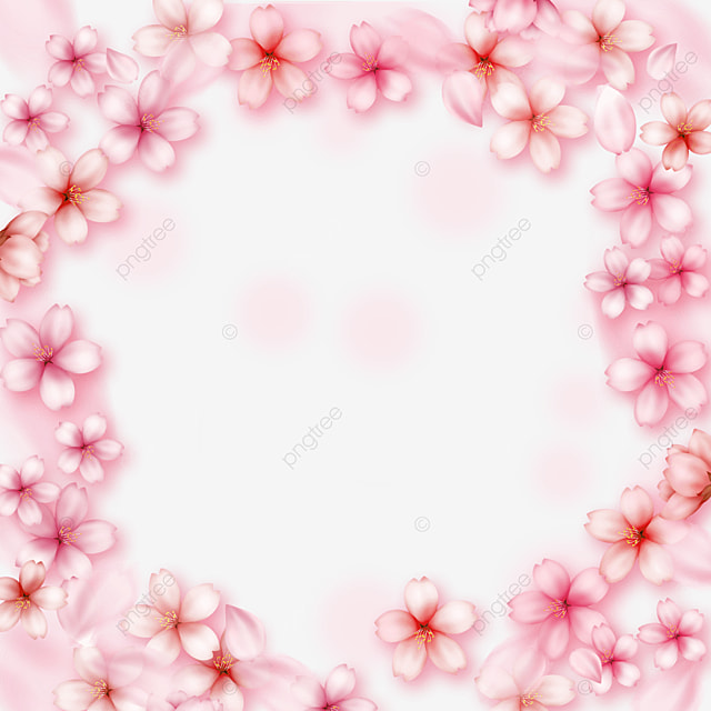 pink romantic light effect cherry blossom round border