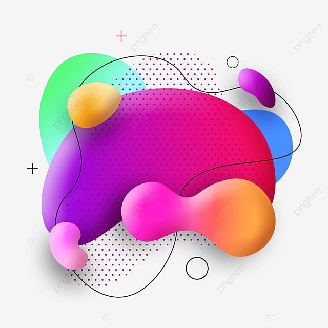 rainbow color fluid gradient abstract memphis border