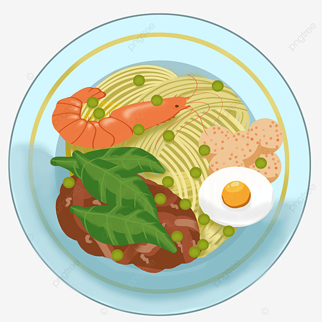 ramen with meat sauce egg greens prawns clipart