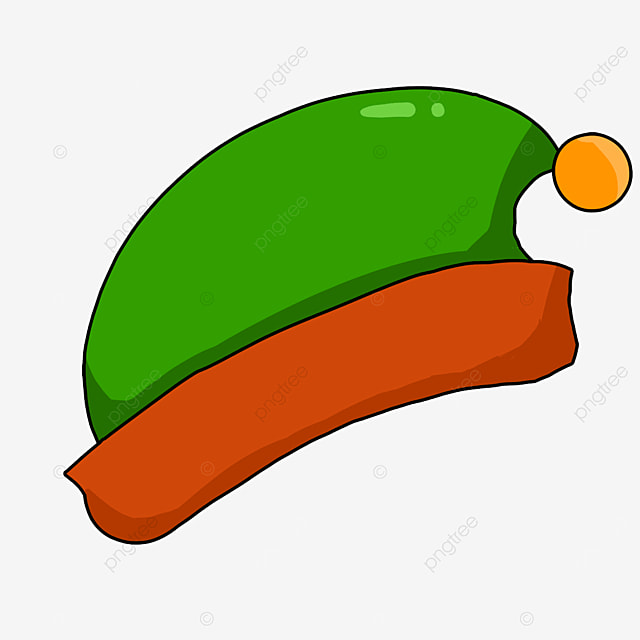 red and green elf cartoon hat clipart