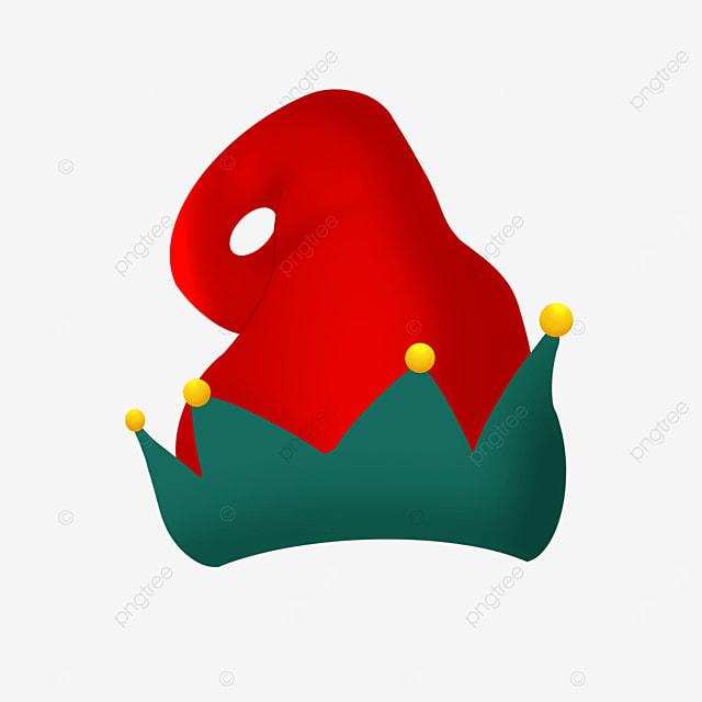 red cartoon christmas elf hat clipart