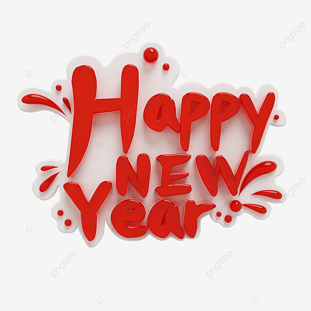 red crystal clear happy new year font