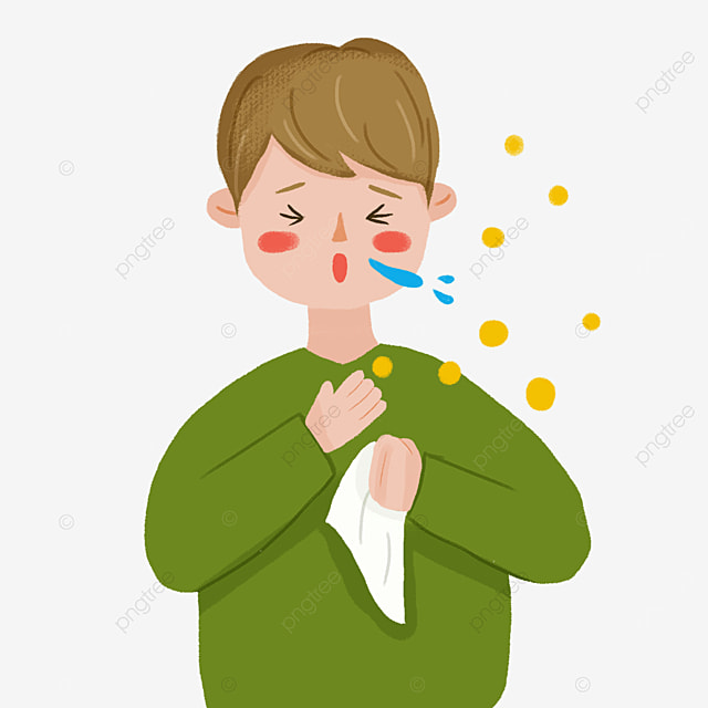 sick cold coughing boy flu clipart