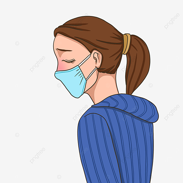 sick woman with flu clipart