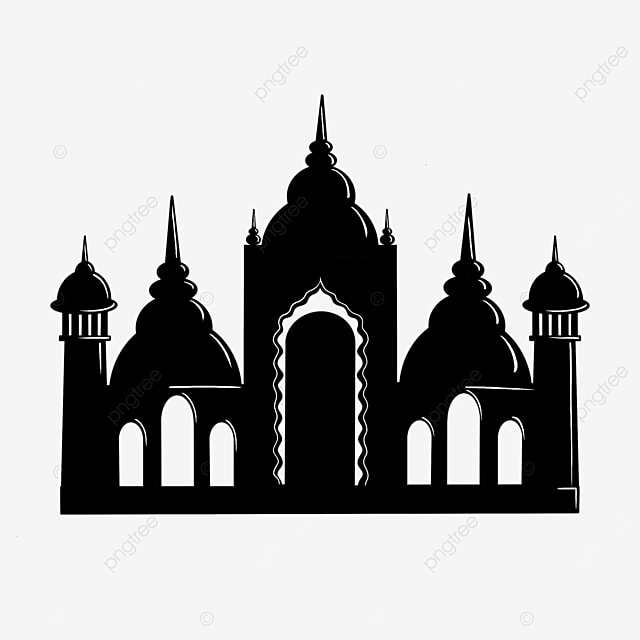 simple black and white attractions building castle silhouette clipart