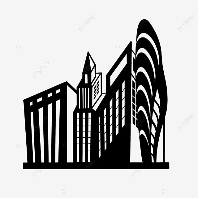 simple black and white commercial building city clipart