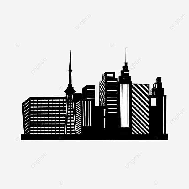 simple black and white commercial building city clipart silhouette