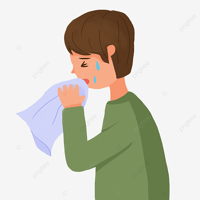 sneezing boy with fever and flu clipart