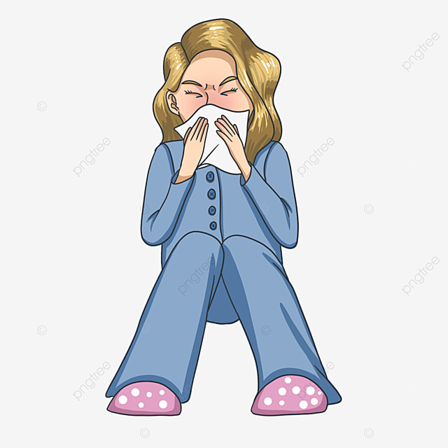 sneezing woman with flu clipart