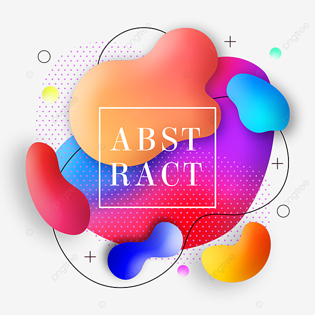 textured fluid rainbow color gradient abstract memphis border
