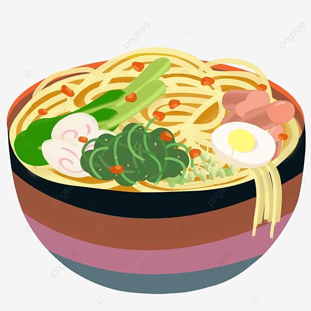 three color bowl hand rolled noodles ramen clip art