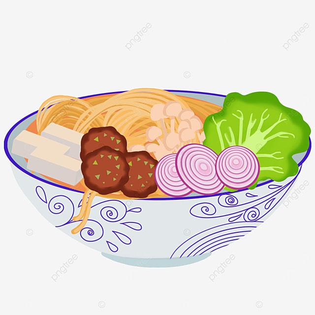 tofu ramen with onion meatballs clip art