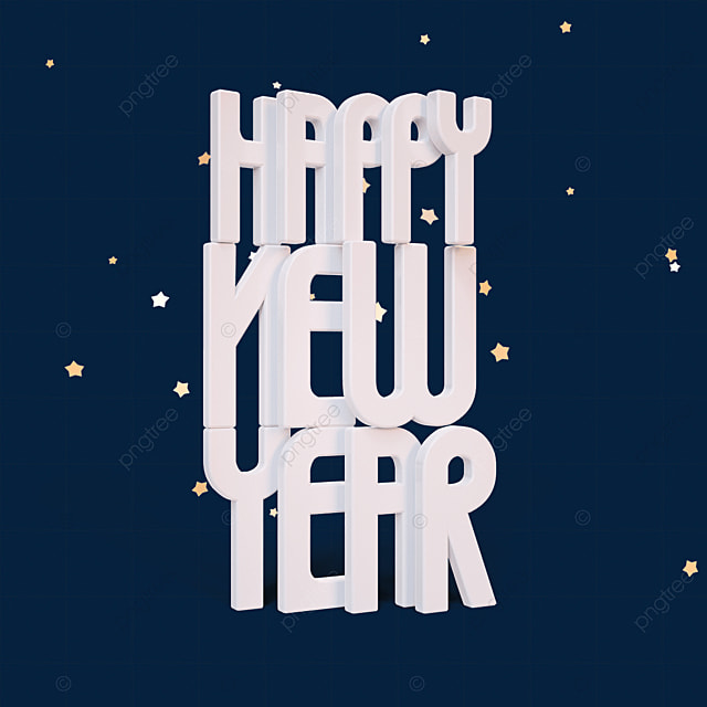 white happy new year font