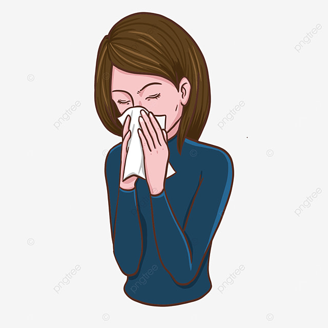 woman with flu clipart blowing her nose