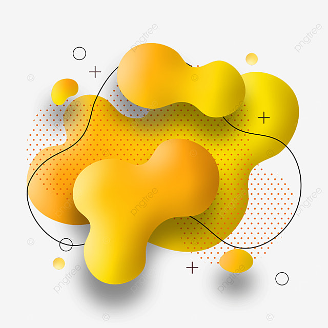 yellow fluid gradient abstract memphis border