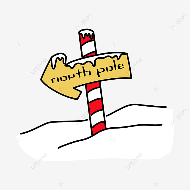 yellow north pole clip art wooden sign