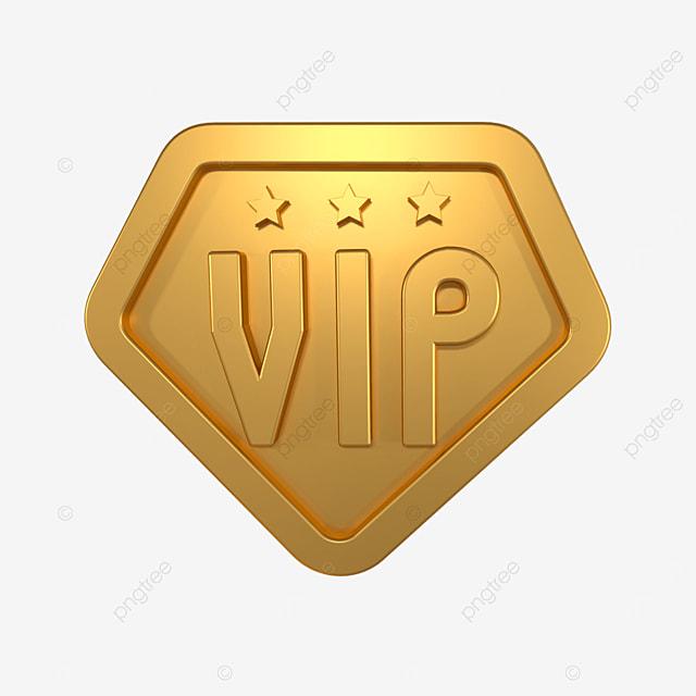 3d gold vip badge