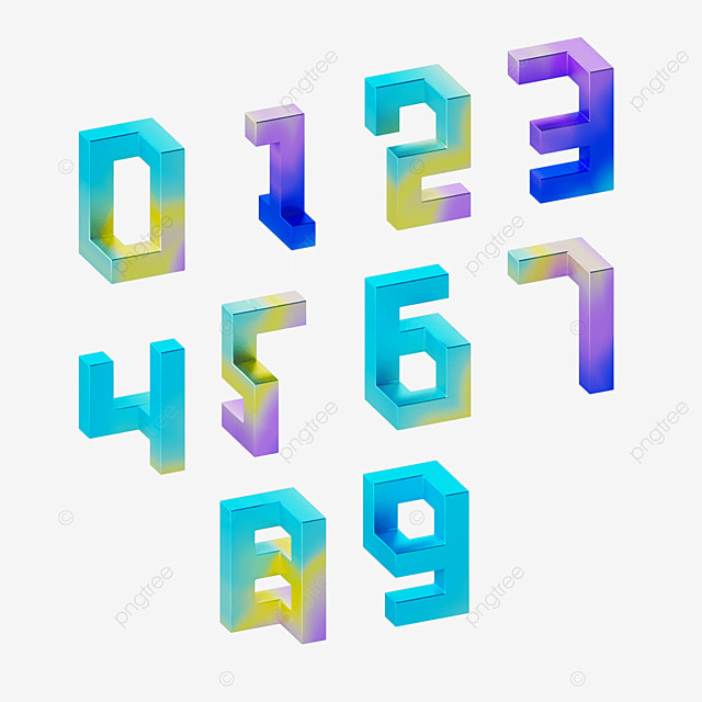 abstract three dimensional colorful gradient numbers