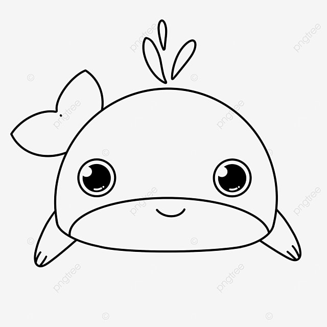 animal whale clipart black and white