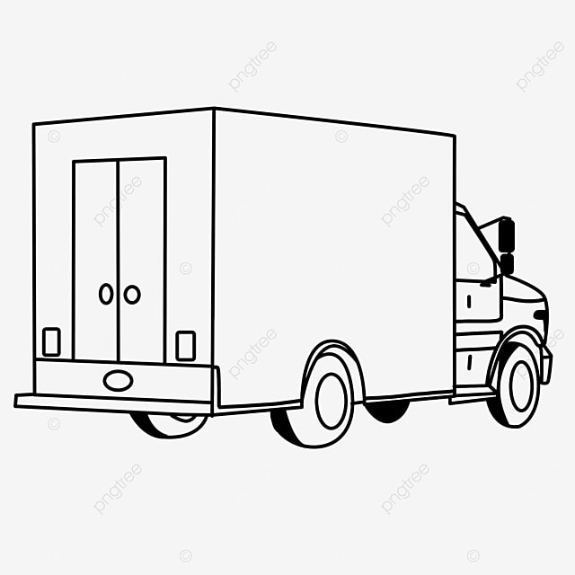 back side truck clipart black and white