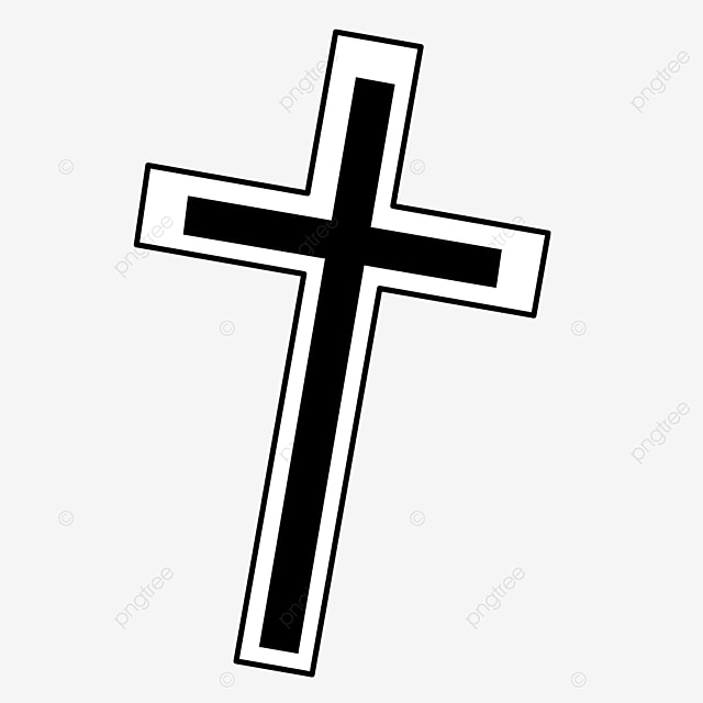black and white right flip cross clipart