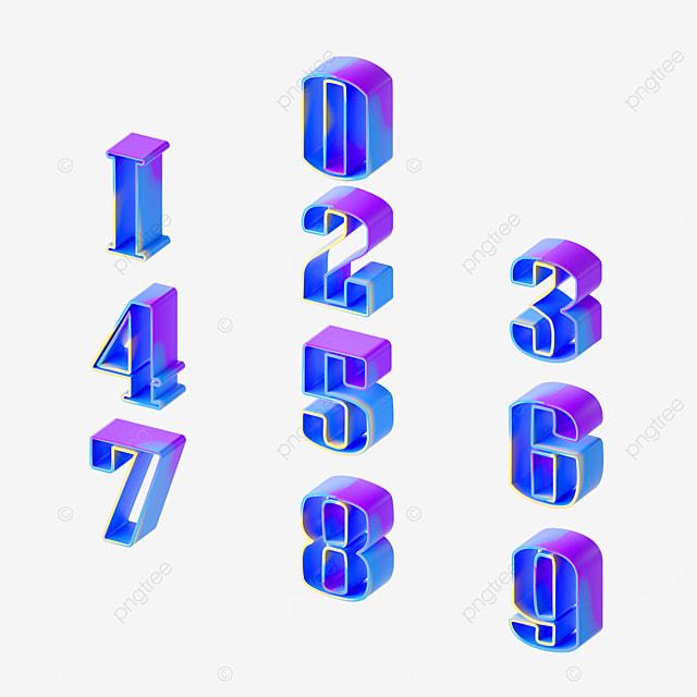 blue and purple gradient hollow digital font