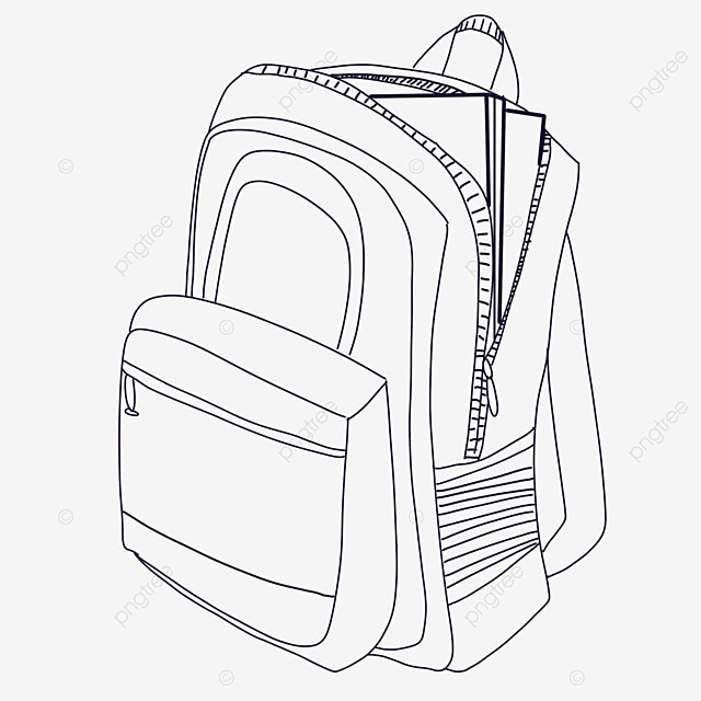 book bag clipart black and white