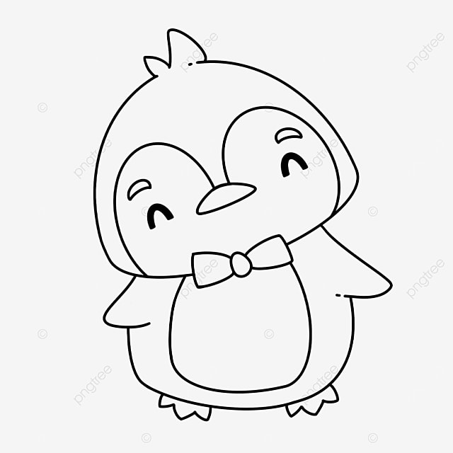 bow tie penguin clipart black and white