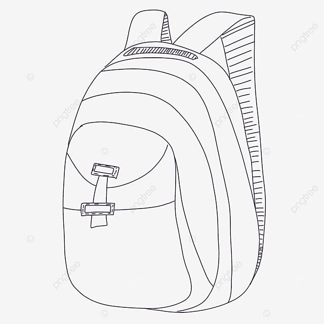 buckle bag clipart black and white