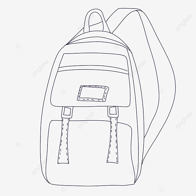 cartoon bag clipart black and white