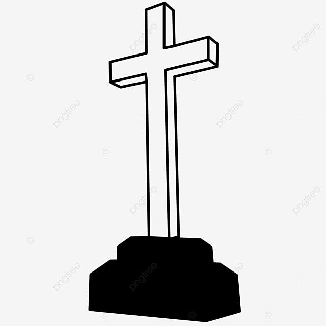 cemetery church worship cross clipart black and white